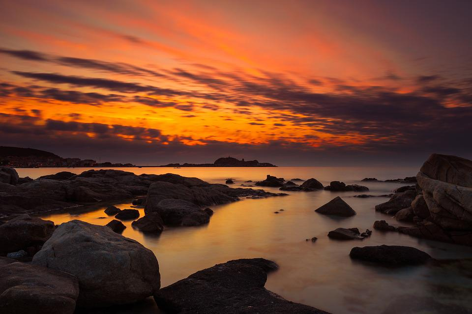Sunset, Dawn, Dusk, Waters, Evening, Corsica, Sardinia