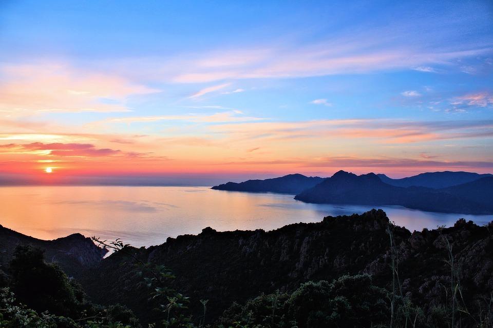 Sun, Sunset, Sea, Abendstimmung, Corsica