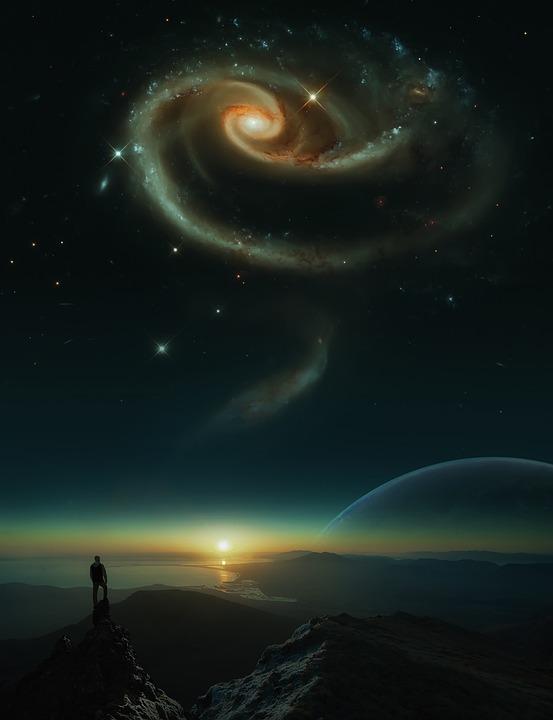 Cosmos, Galaxy, Sunset, Universe, Photoshop