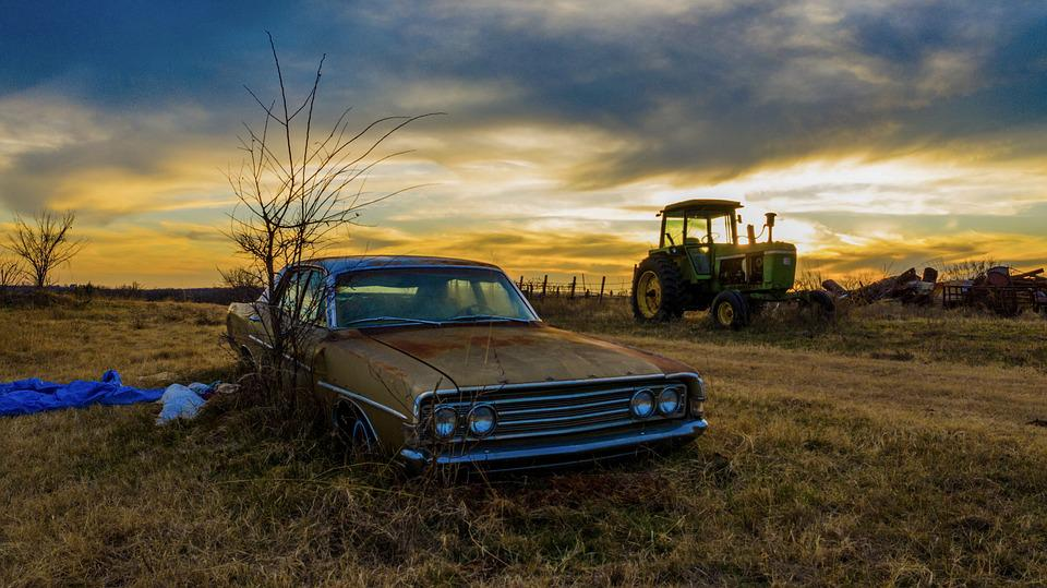 Classic, Car, Sunset, Country