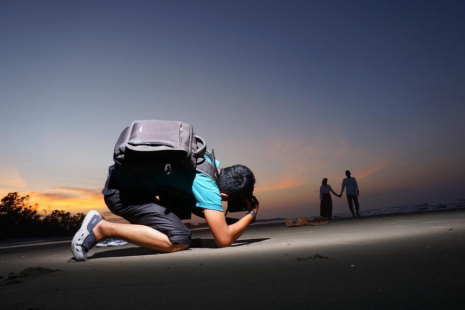 Photographer, Couple, Sunset, Beach, Indonesia