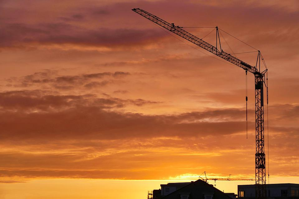 Sunset, Crane, Sky, Site, Evening, Construction, Dusk