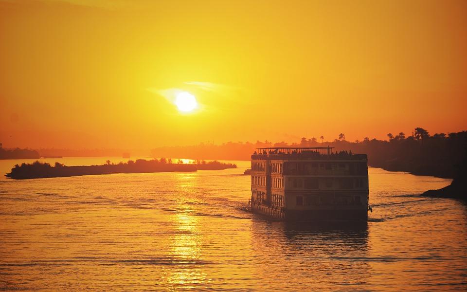 Sunset, River, Cruise, Nile, Sun, Landscape