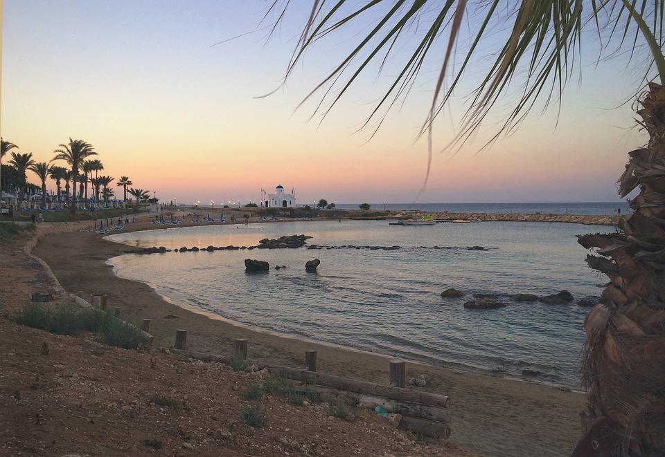 Beach, Sunset, Cyprus, Ocean, Sea, Water, Sky, Sun