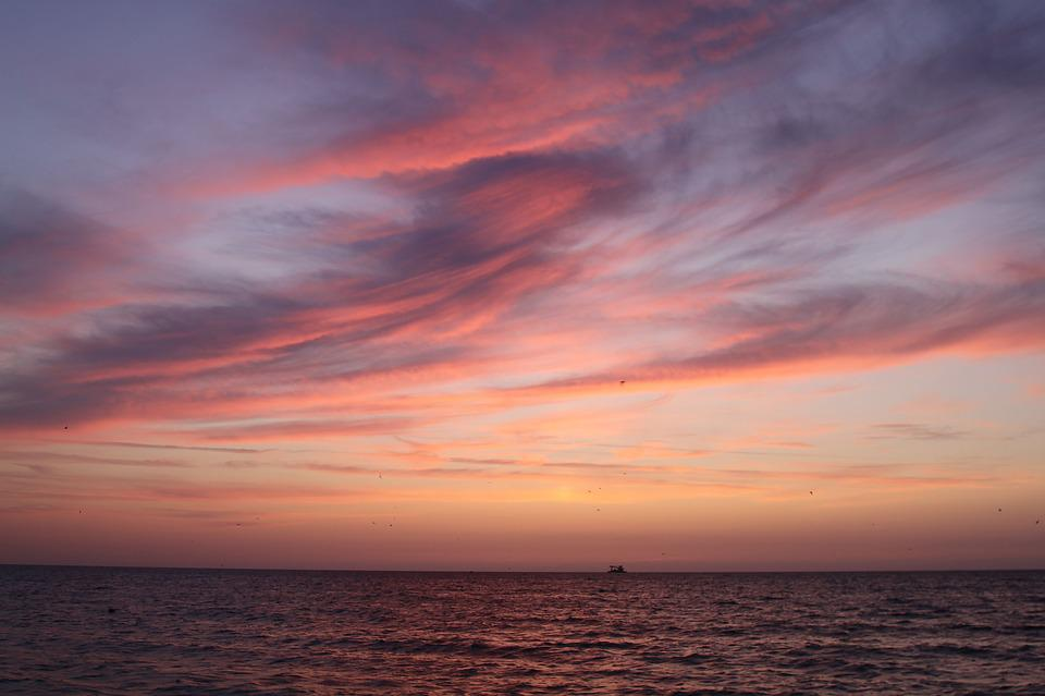 Sunset, Dawn, Twilight, Sea