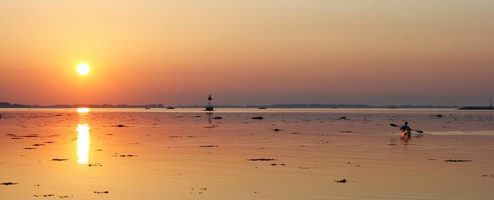 Kayak, Fjord, Sunset, Calm Seas, Odense, Denmark