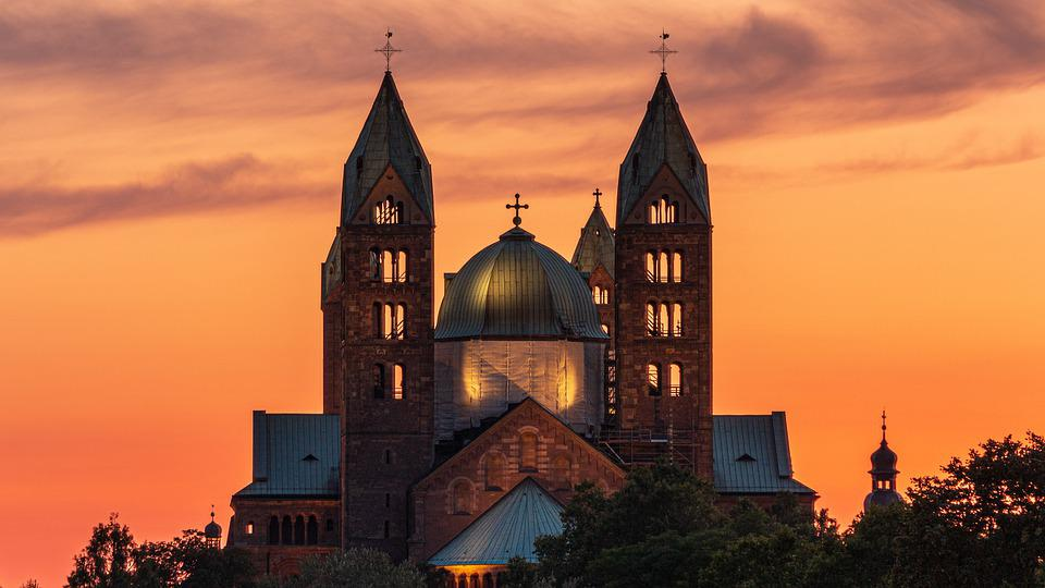 Cathedral, Sunset, Church, Dom, Speyer, Building