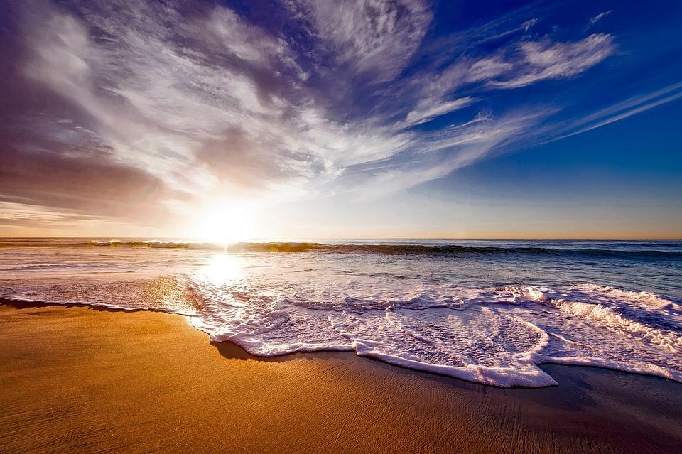 California, Sunset, Dusk, Sky, Clouds, Sea, Ocean