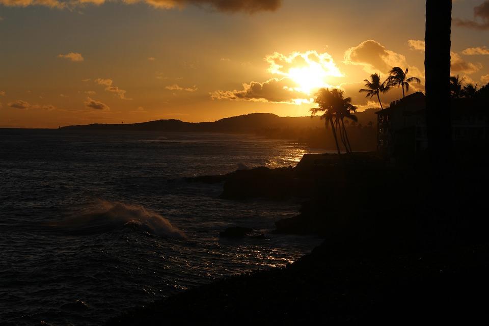 Sunset, Hawaii, Tropical, Ocean, Vacation, Island, Dusk