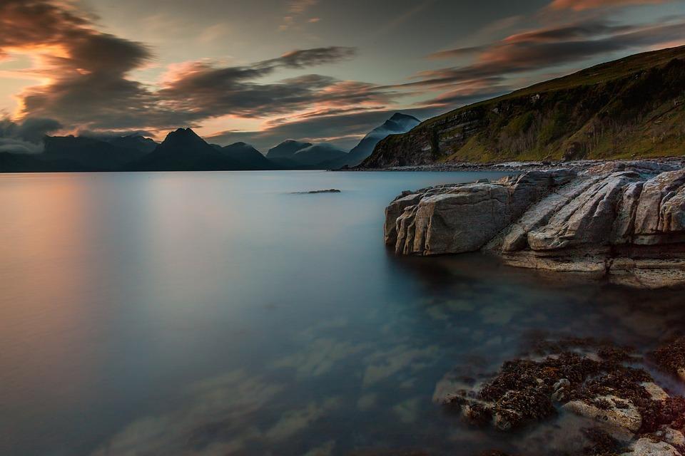 Sunset, Dusk, Lake, Coast, Water, Sea, Blue, Red, Rock