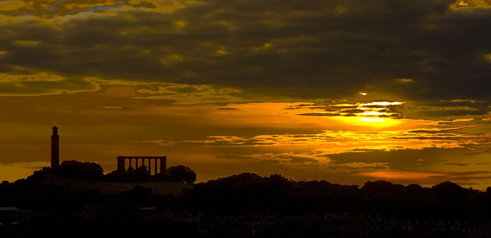 Calton Hill, Skyline, Edinburgh, Sky, Sunset