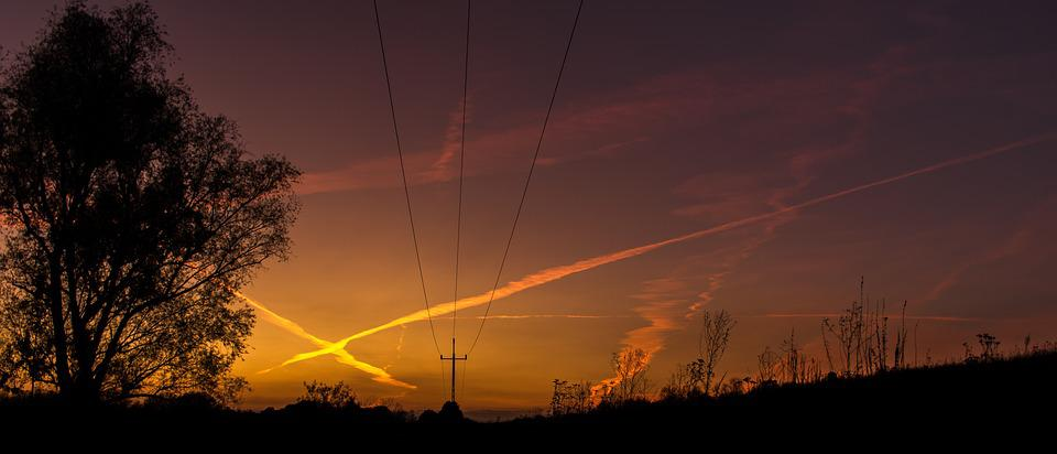 Power Pole, Pole, Energy, Tree, Sunset, Sky, Nature