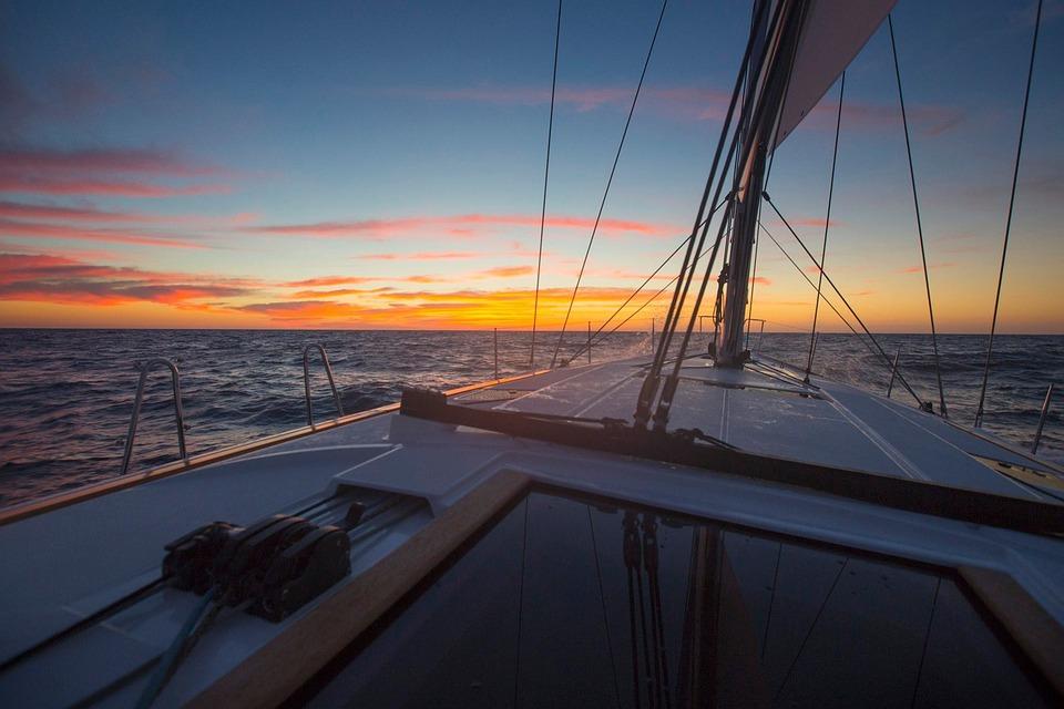 Boat, Sailing, Landscape, Sunset, Orange Sky, Evening