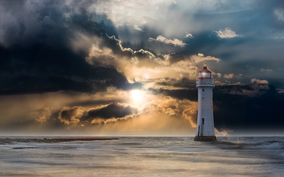 Lighthouse, Glow, Evening, Clouds, Sunset, Ocean, Sea