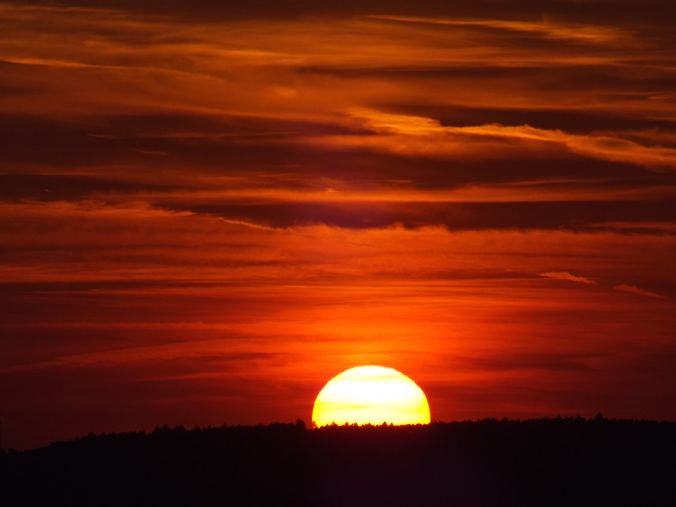 Afterglow, Sunset, Oberschönenfeld, Evening Sky
