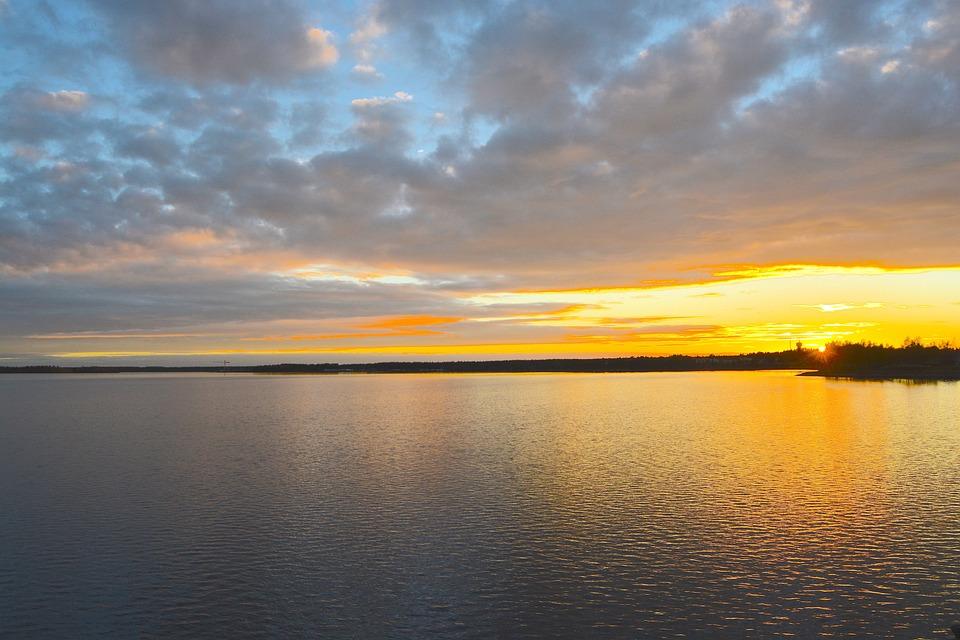 Luleå, Water, Evening Sun, Sunset