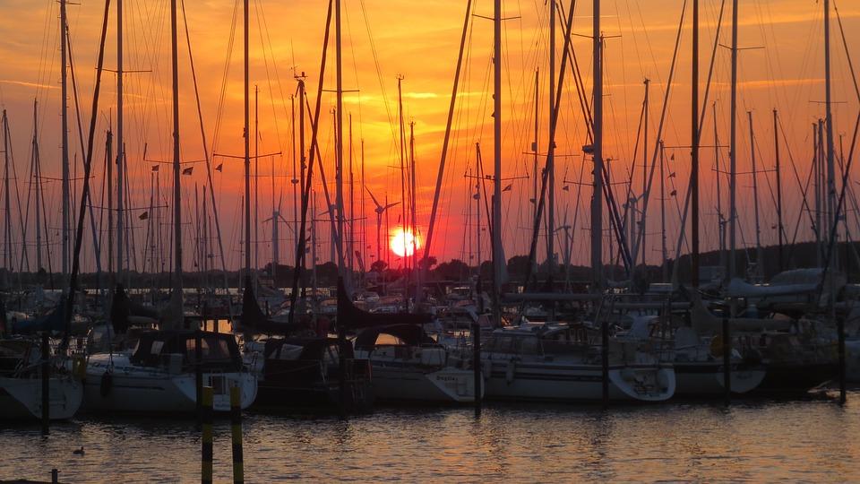 Sailing Boats, Port, Fehmarn, Castle Depth, Sunset