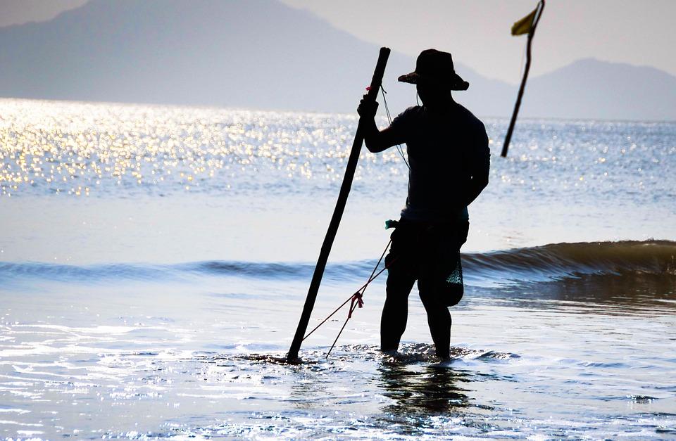 Fishermen, Silhouette, Sunset