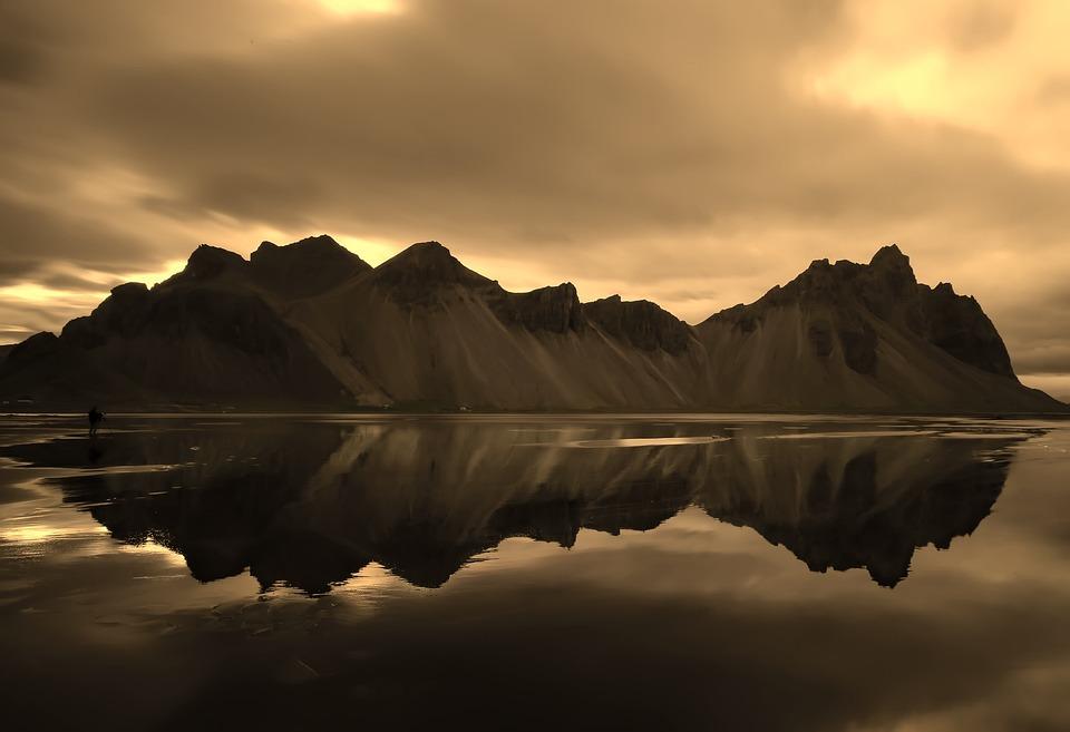 Iceland, Mountains, Sunset, Dusk, Reflections, Fjord