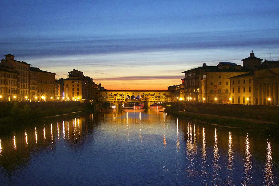 Florence, Bridge, Night, Lights, Sunset, River, Italy