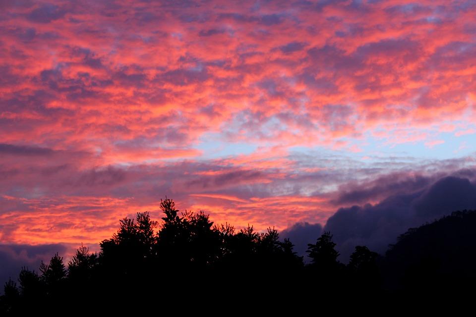 Sunset, Landscape, Gampola, Clouds, Colorful, Natural