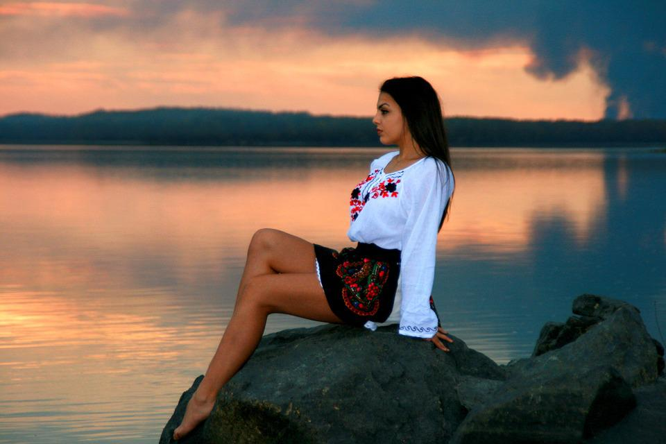 Girl, Lake, Sunset, Reflection, In The Evening, Beauty