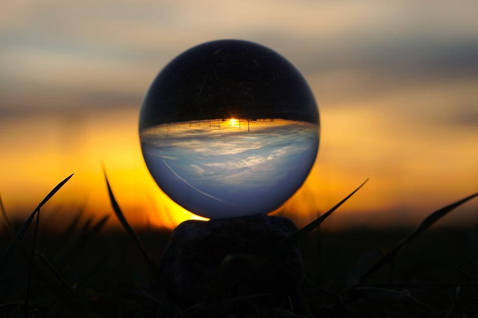 Sun, Sunset, Glass Ball, Sky, Blue, Red, Afterglow