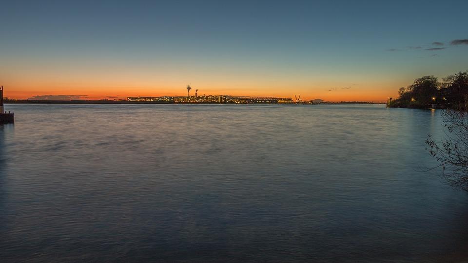 Hamburg, Elbe, Airbus, Sunset, Water, Abendstimmung