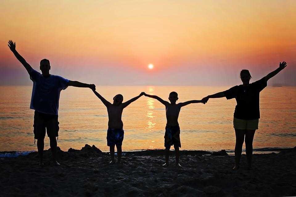 Family, Sunset, Beach, Happiness, Summer, Happy