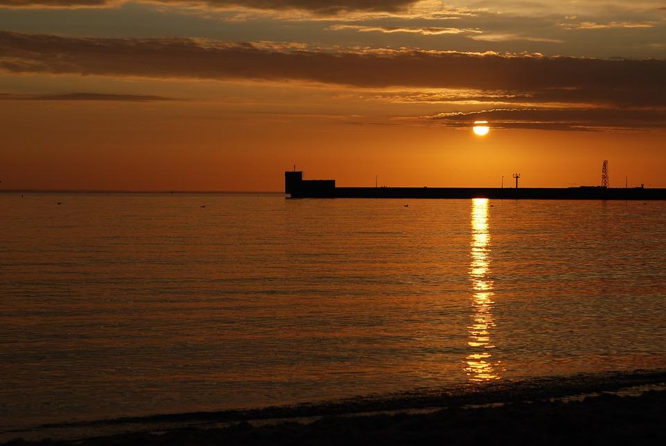 Sunset, Sea, Helium, Landscape, Water