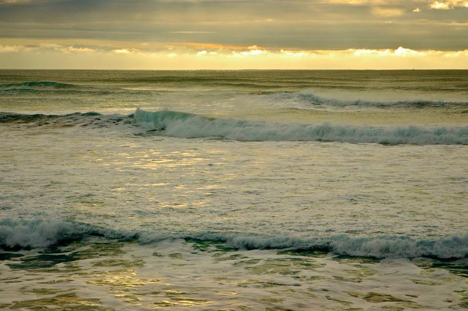 Waves, Ocean, Sea, Sunset, Pacific, Water, Horizon