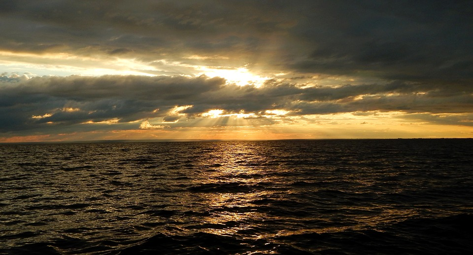 Sea, Sunset, Horizon, Wave