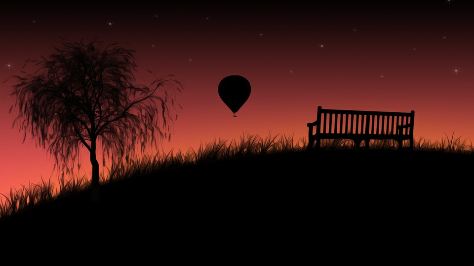 Sunset, Bench, Hot Air Balloon, Grass, Tree, Willow