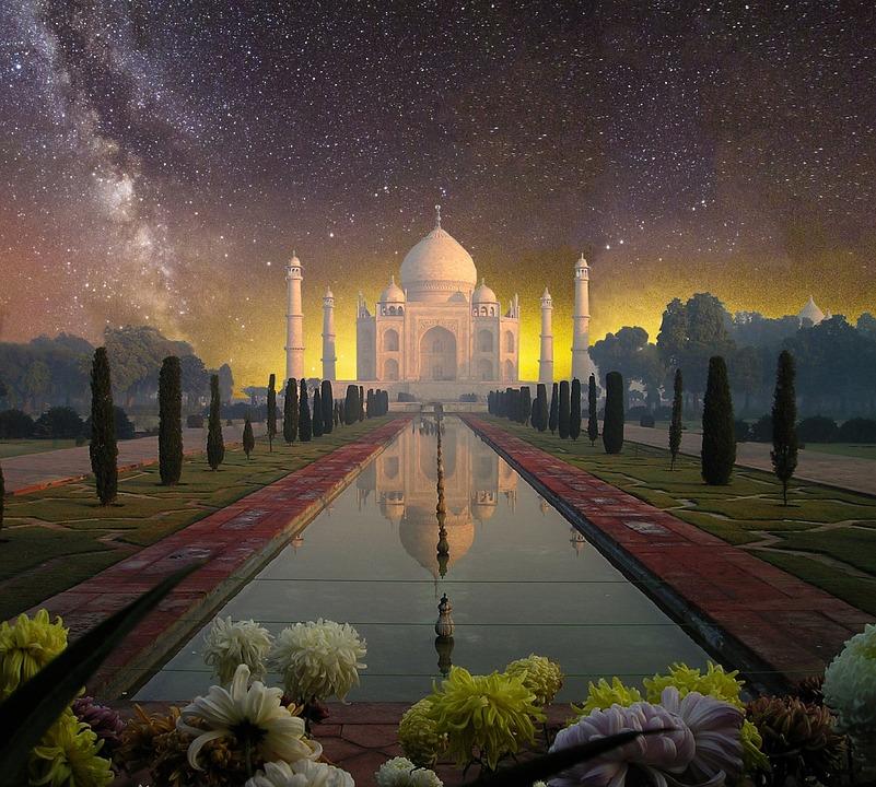 Taj Mahal, Agra, India, Sun, Sunset, Abendstimmung