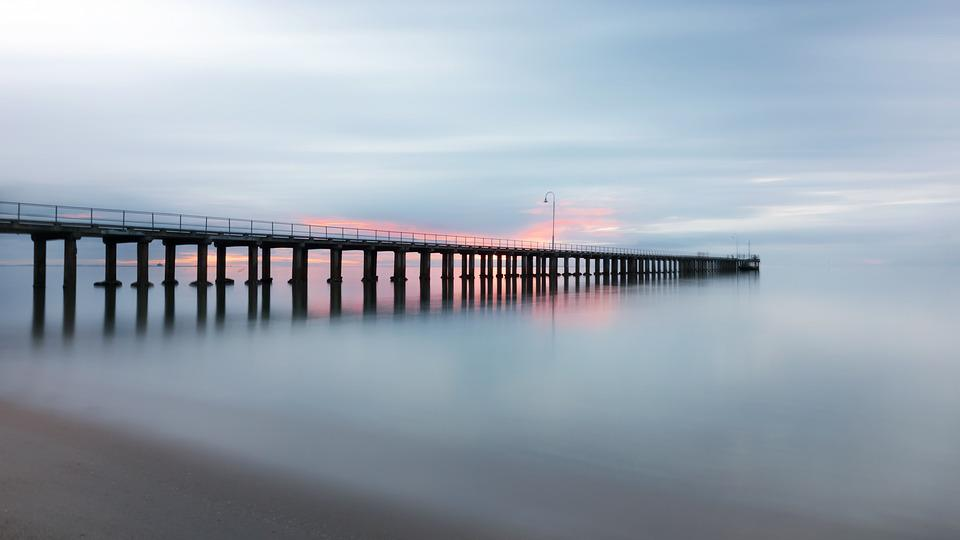 Pier, Jetty, Sunset, Sea, Ocean, Horizon, Calm, Water
