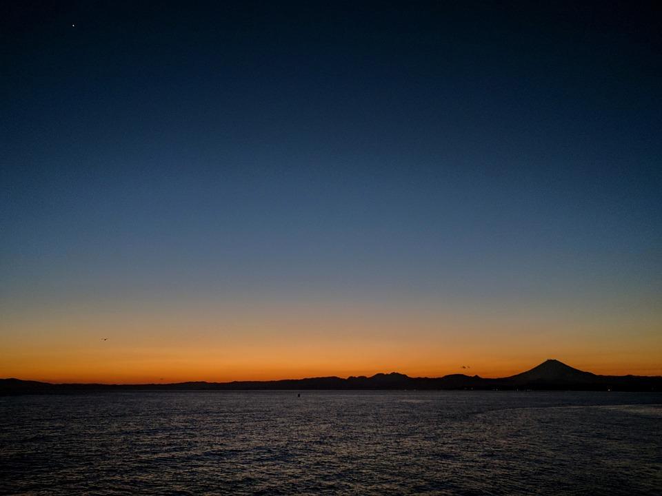 Sea, Sunset, At Dusk, Japan, Kanagawa Japan, Enoshima