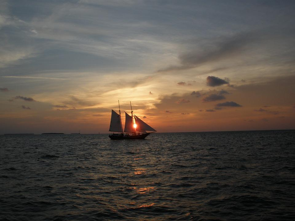 Key West Florida, Sunset, Schooner