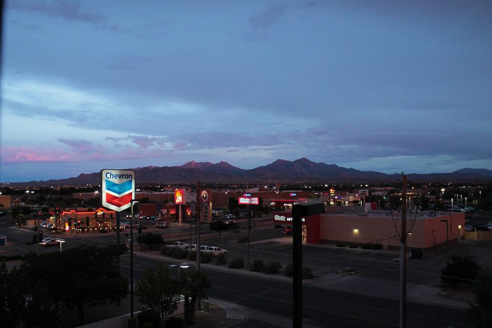 Sunset, Kingman, U S, California, Chevron