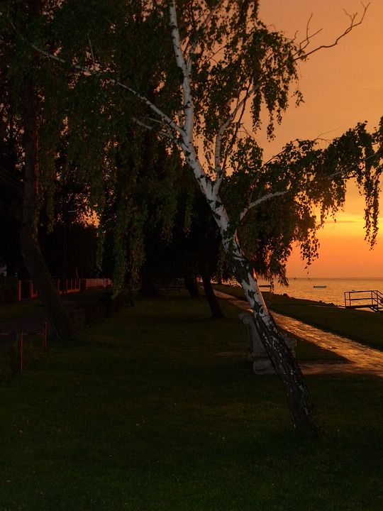 Sunset, Beach Promenade, Lake
