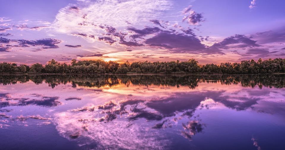 Panorama, Background Image, Wallpaper, Lake, Sunset