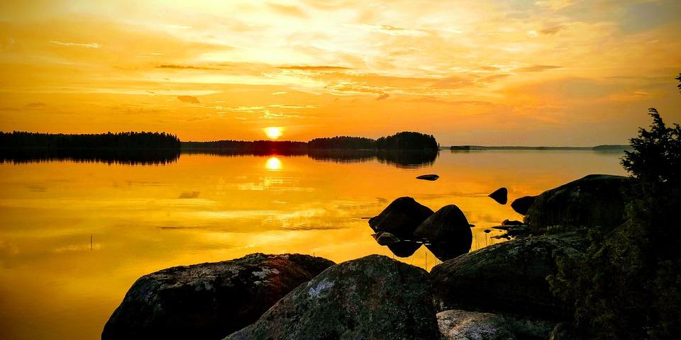 Sky, Fire, Sunset, Midnight, Nature, Lake, Landscape