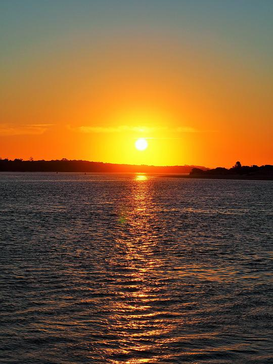 Sunset, Lakes Entrance, Lakes, Water, Orange, Yellow