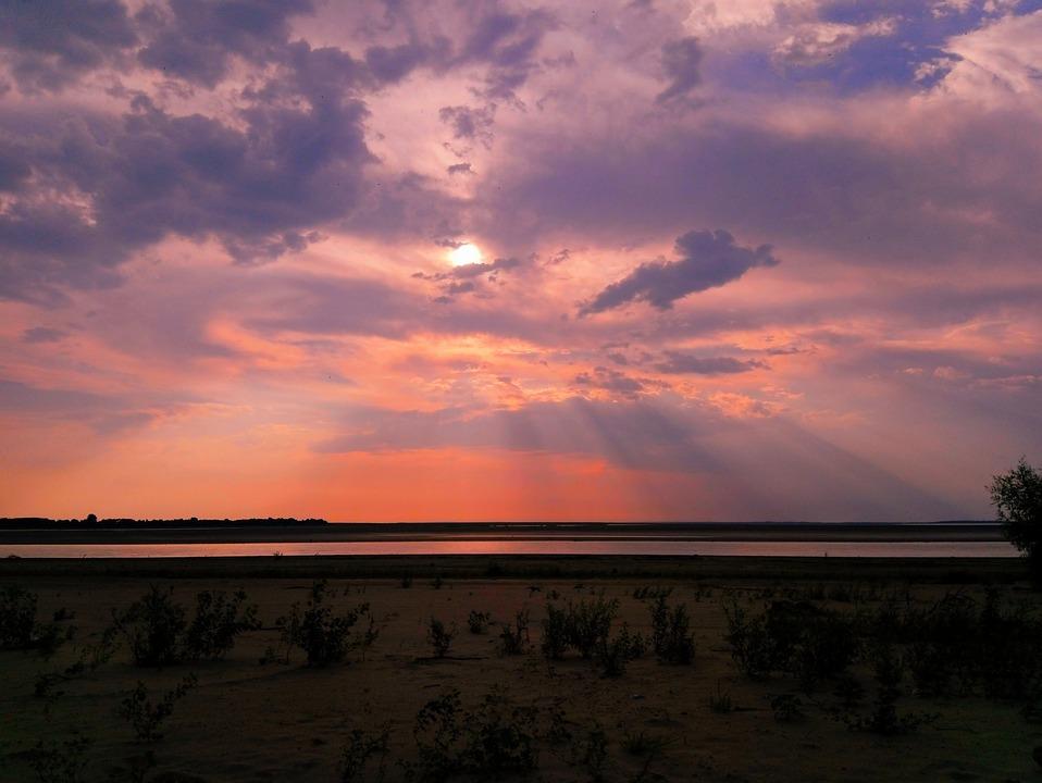 Sunset, Evening, Beach, Nature, Landscape, Sea, River