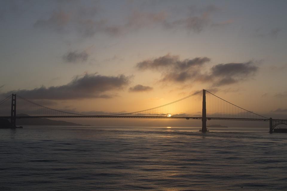 Sunset, Water, Sea, Dawn, Landscape, Ocean, Golden Gate