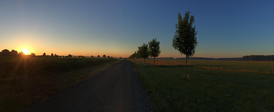 Sunset, Sun, Field, West, Landscape, Evening, Sky