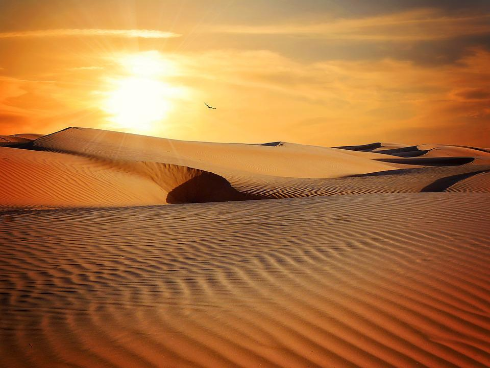 Desert, Sand, Landscape, Sun, Sunset, Lighting
