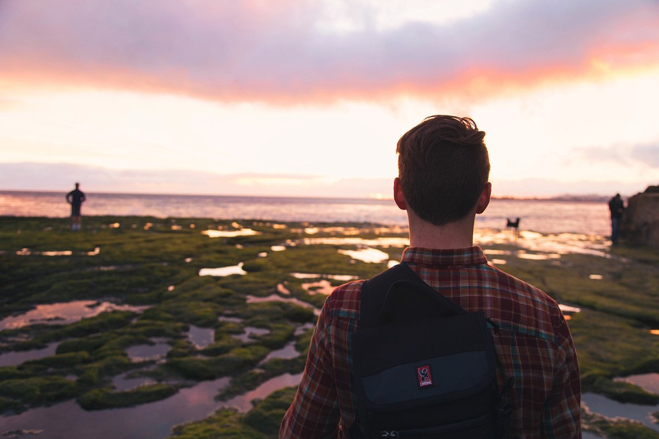 Guy, Man, Looking, Ocean, Sea, Sunset, People, Backpack