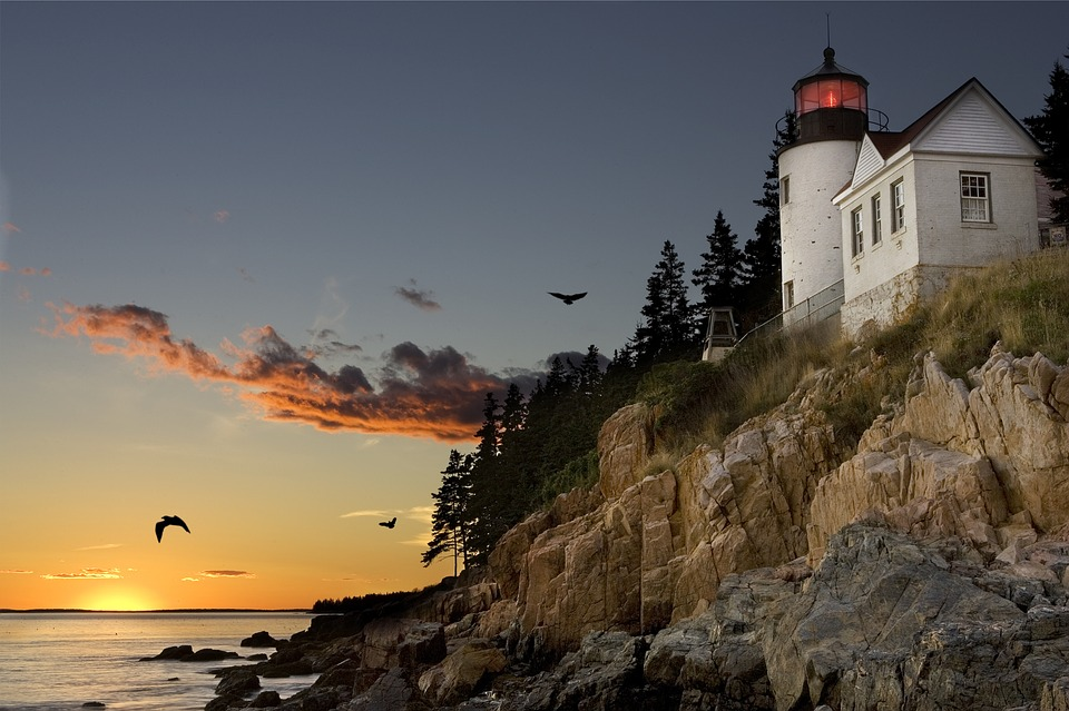 Lighthouse, Bar Harbour, Maine, Sunset, Mood, Clouds