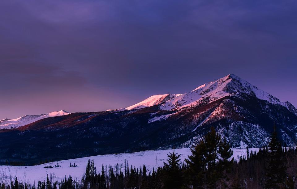 Colorado, Mountains, Meadow, Winter, Snow, Sunset, Dusk