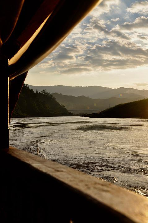 Asia, Mekong River, Thailand, Sunset, River, Water